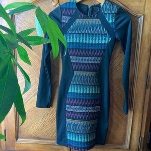 H&M aztec tribal print black bodycon dress